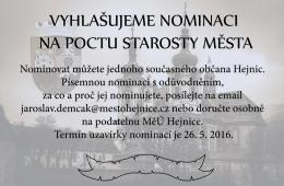 Vyhlašujeme nominace na pocty starosty